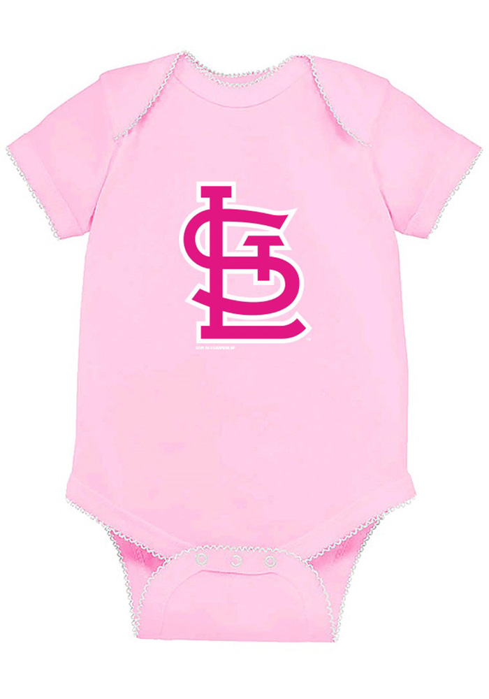 St Louis Cardinals Baby Pink Picot Short Sleeve One Piece - Image 1