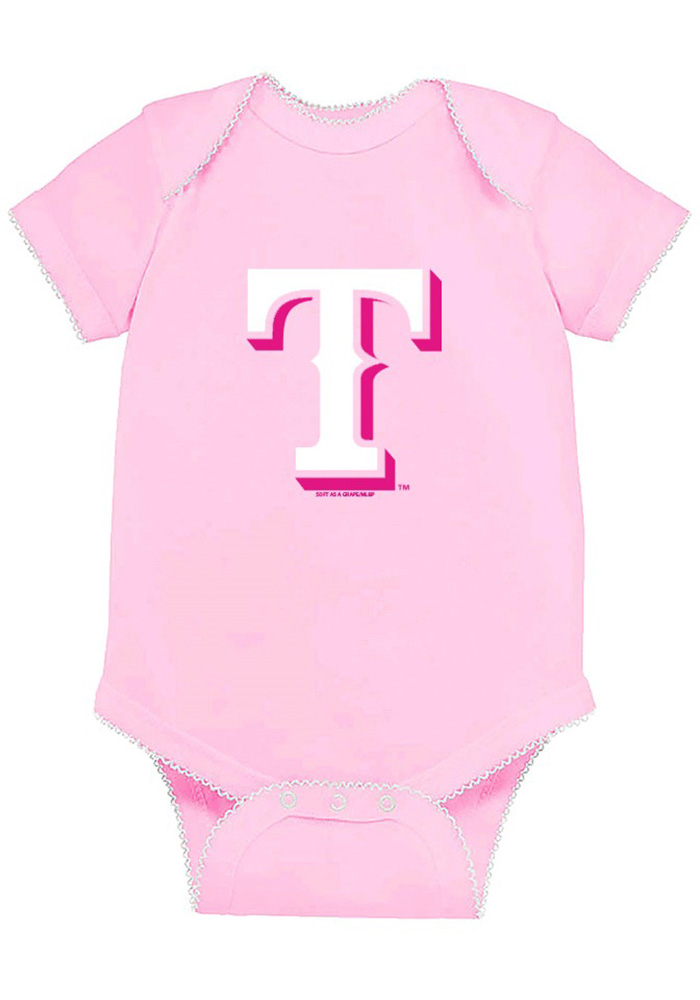 Texas Rangers Baby Pink Picot Short Sleeve One Piece - Image 1