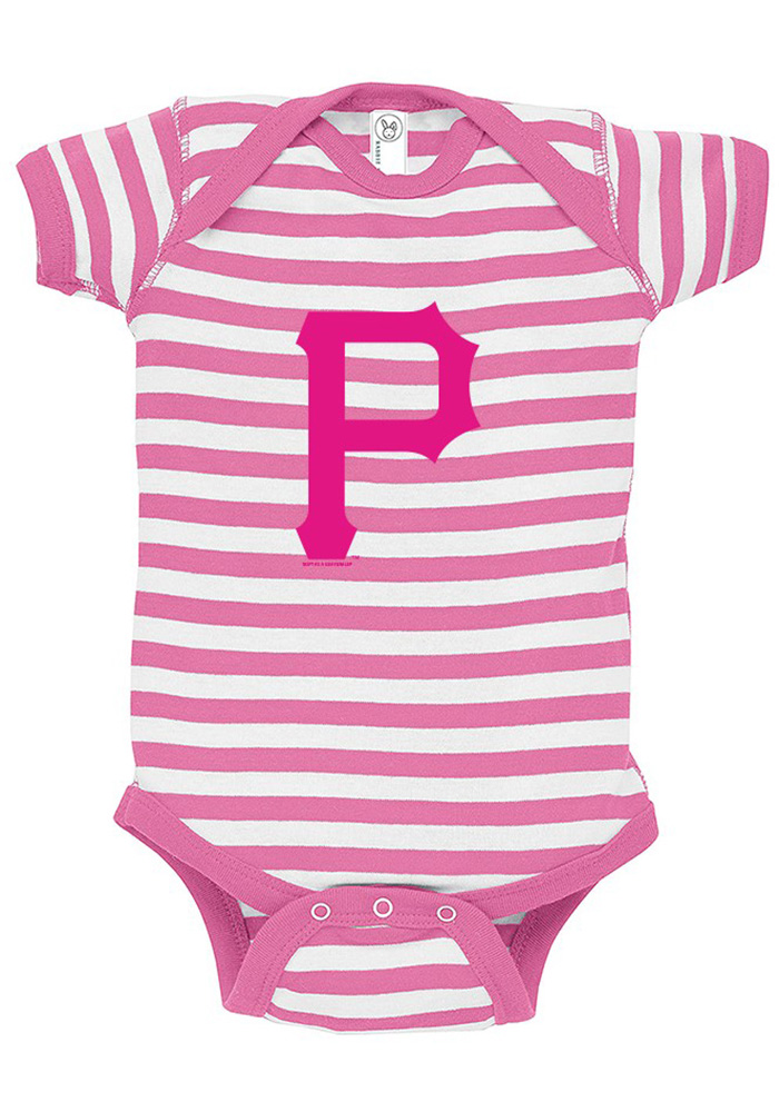 Pittsburgh Pirates Baby Pink Stripe Short Sleeve One Piece - Image 1