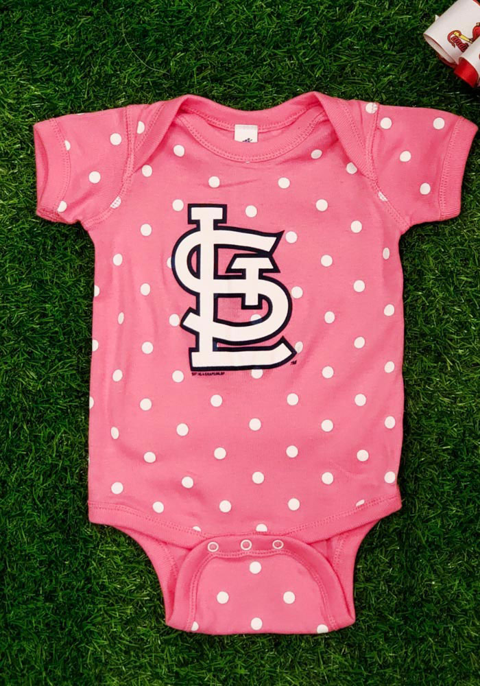 St Louis Cardinals Baby Pink Polka Short Sleeve One Piece - Image 2