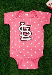 St Louis Cardinals Baby Pink Polka One Piece