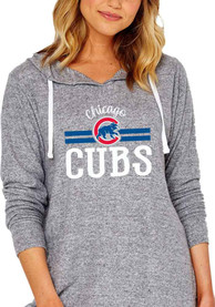 low priced ccb44 bce33 Chicago Cubs Womens Grey Hacci V Notch Hoodie