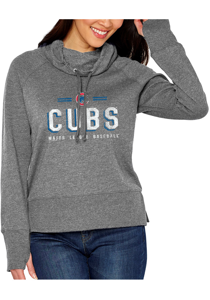 Chicago Cubs Womens French Terry Funnel Grey Crew Sweatshirt