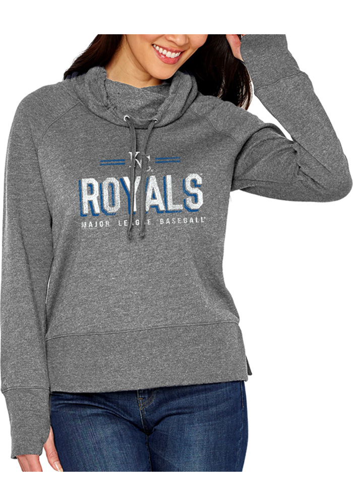 Kansas City Royals Womens French Terry Funnel Grey Crew Sweatshirt