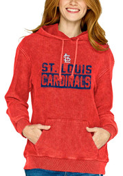 St Louis Cardinals Womens Corded Hooded Sweatshirt - Red