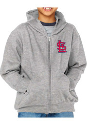 St Louis Cardinals Youth Primary Logo Full Zip Jacket - Grey