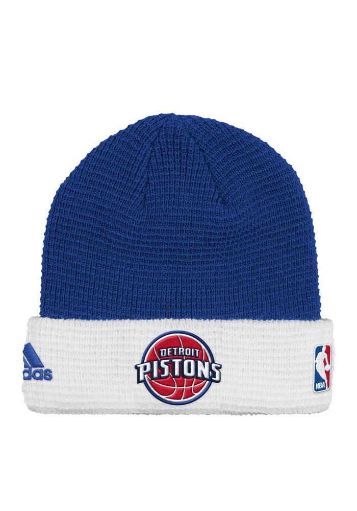 Adidas Detroit Pistons Blue Authentic Cuffed Mens Knit Hat - Image 1