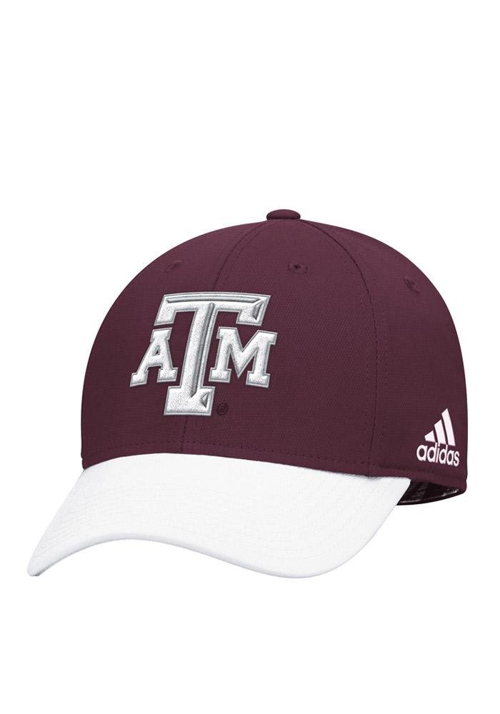 Adidas Texas A&M Aggies Mens White Sideline Structured Flex Hat - Image 1