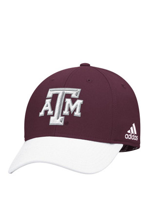 Adidas Texas A&M Aggies Mens White Sideline Structured Flex Hat