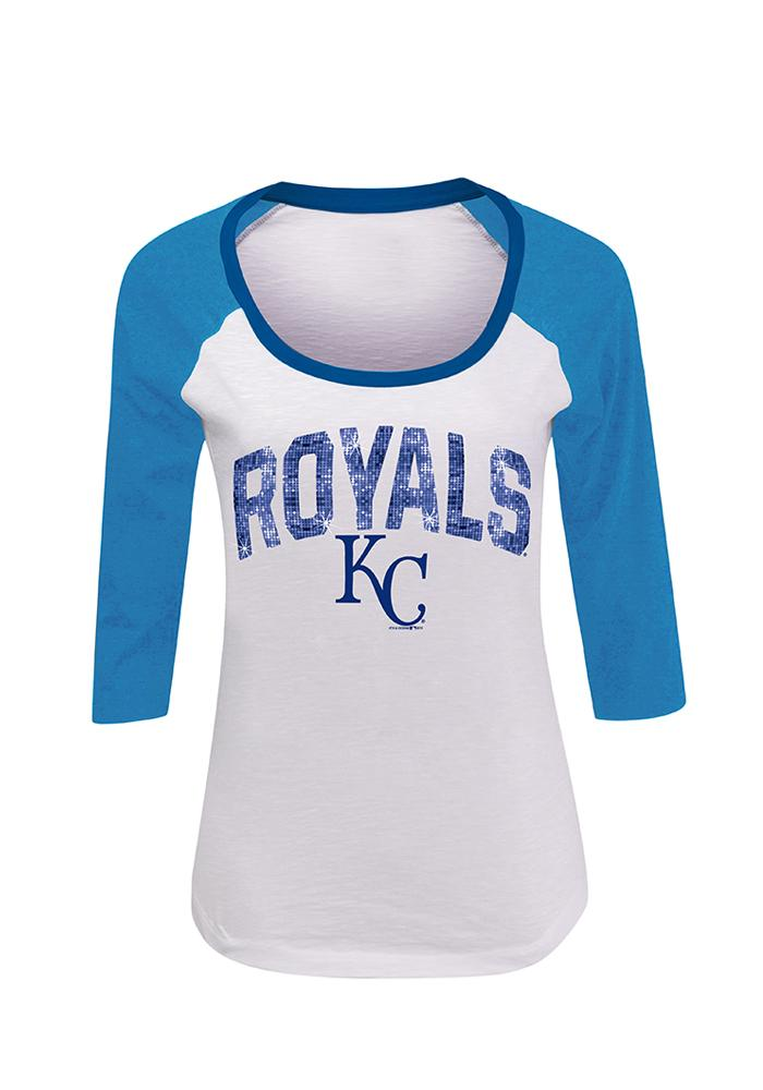 KC Royals Womens White Sequin Long Sleeve Scoop Neck - Image 1