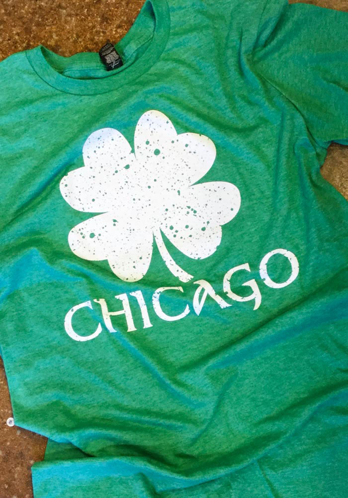 Chicago Green Splatter Shamrock Short Sleeve T Shirt - Image 2