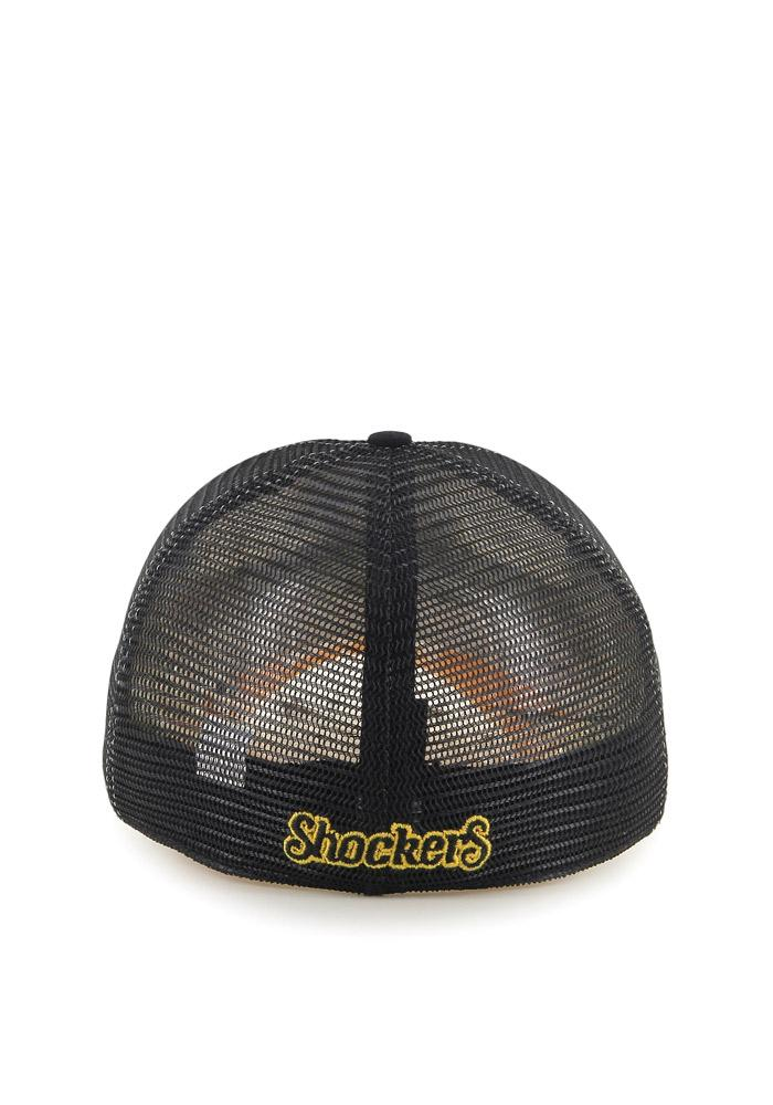 '47 Wichita State Shockers Mens Black Privateer Flex Hat - Image 3