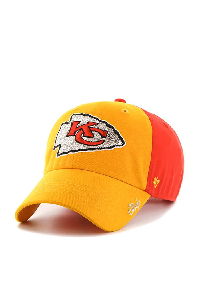 '47 Kansas City Chiefs Red Two Tone Sparkle Womens Adjustable Hat - Image 1