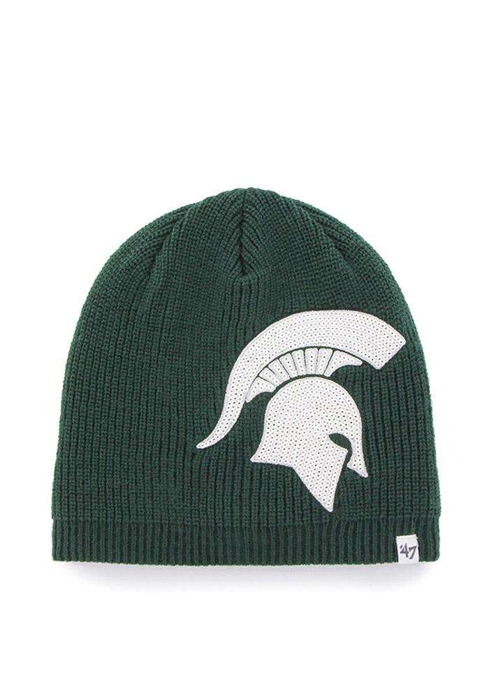 '47 Michigan State Spartans Green Sparkle Womens Knit Hat - Image 2