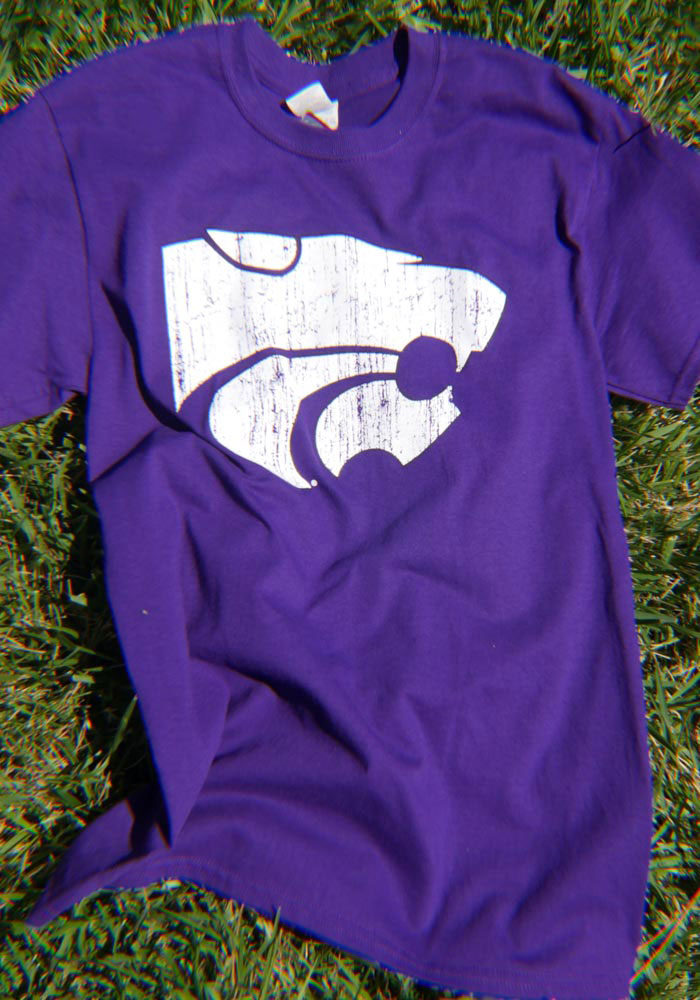 K-State Wildcats Purple Distressed Short Sleeve T Shirt - Image 2
