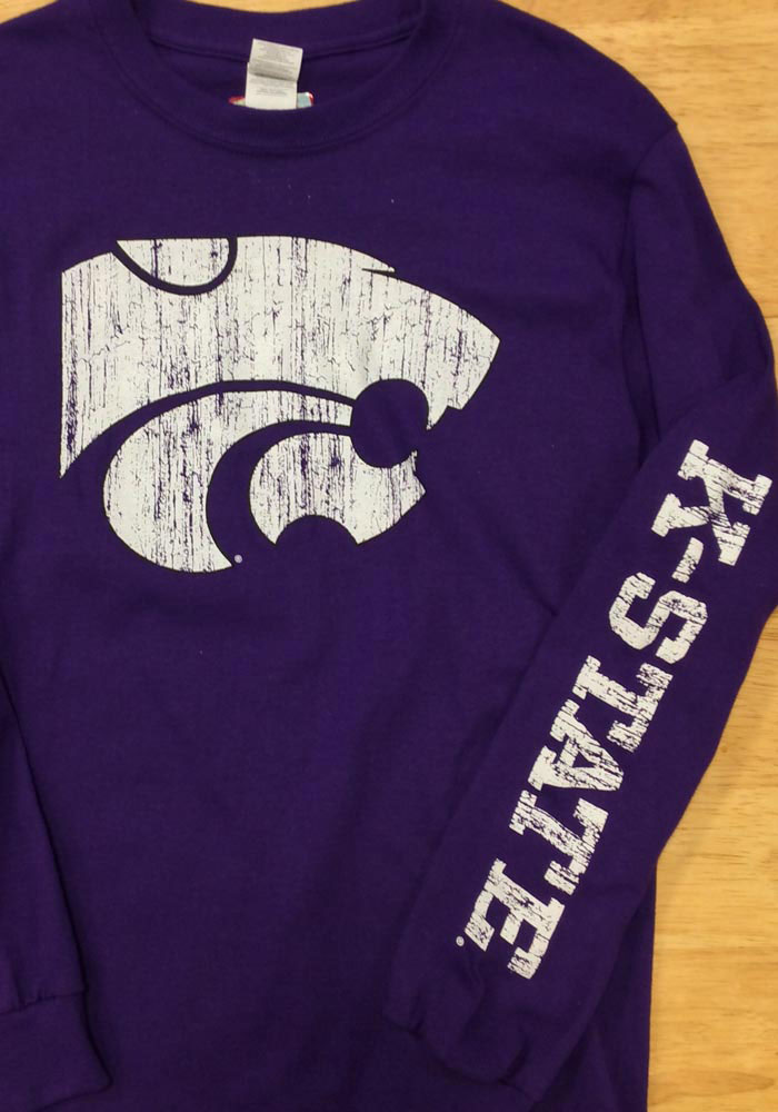 K-State Wildcats Purple Distressed Long Sleeve T Shirt - Image 2