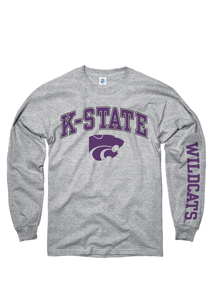 K-State Wildcats Mens Grey Arch Long Sleeve T Shirt - Image 1