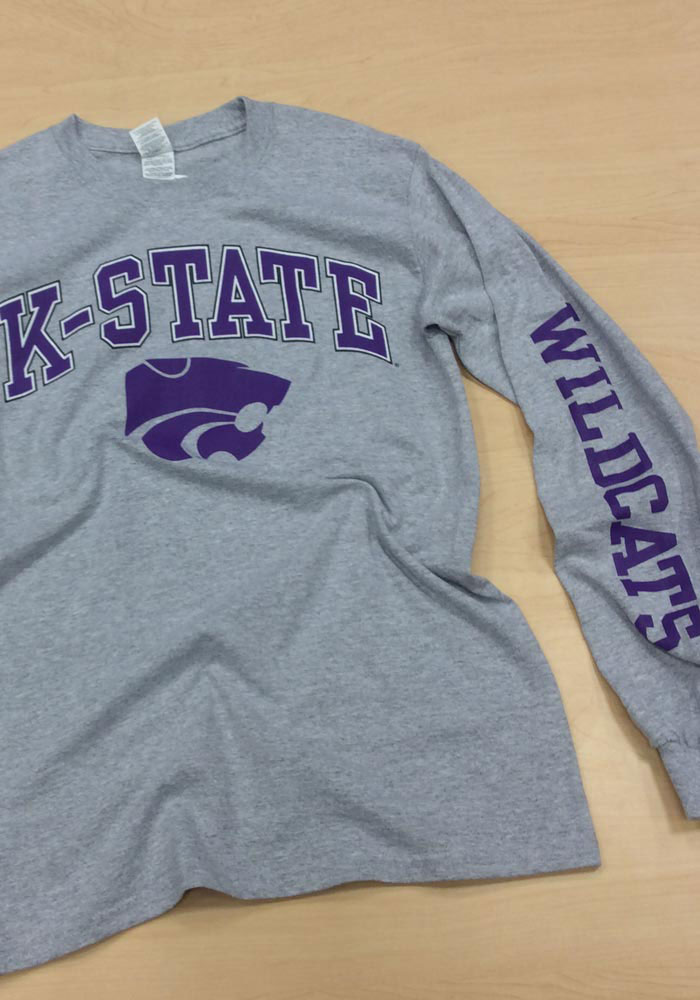 K-State Wildcats Grey Arch Long Sleeve T Shirt - Image 2