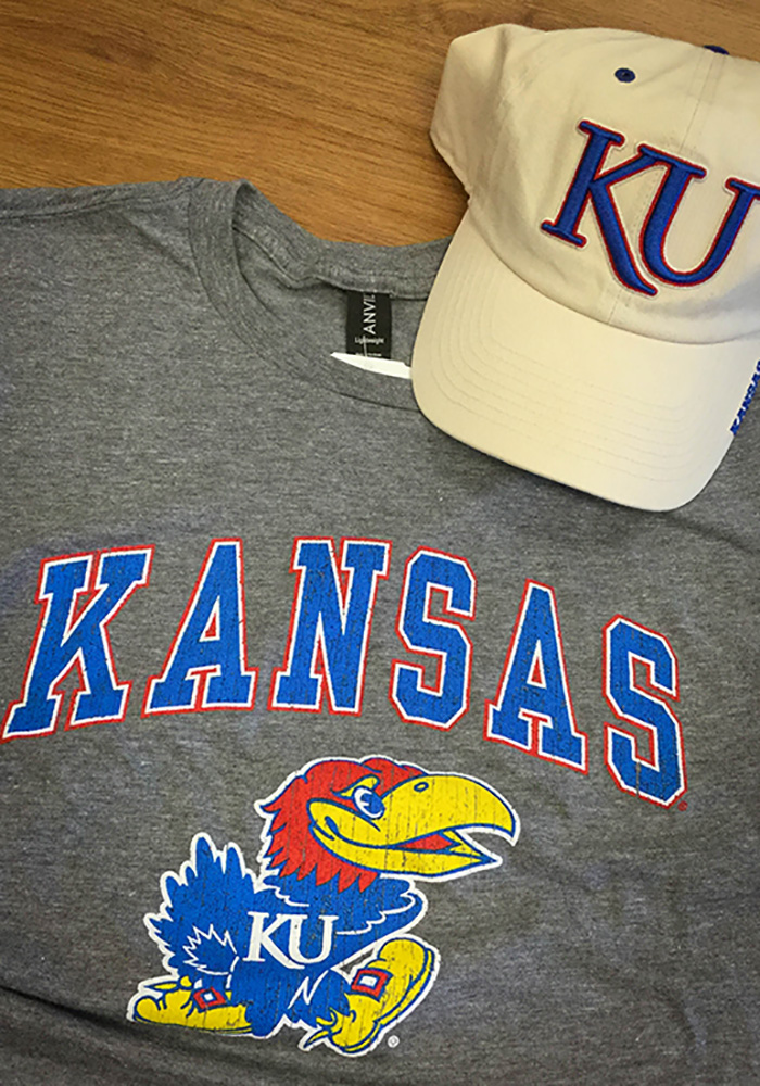 Kansas Jayhawks Grey Arch Short Sleeve T Shirt - Image 2