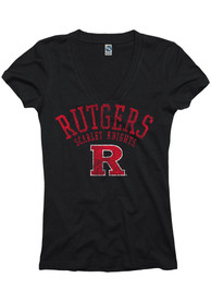 Rutgers Scarlet Knights Womens Black Varsity Ageless V-Neck