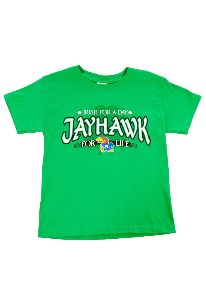 Kansas Jayhawks Youth Green Irish For A Day Short Sleeve T-Shirt - Image 1