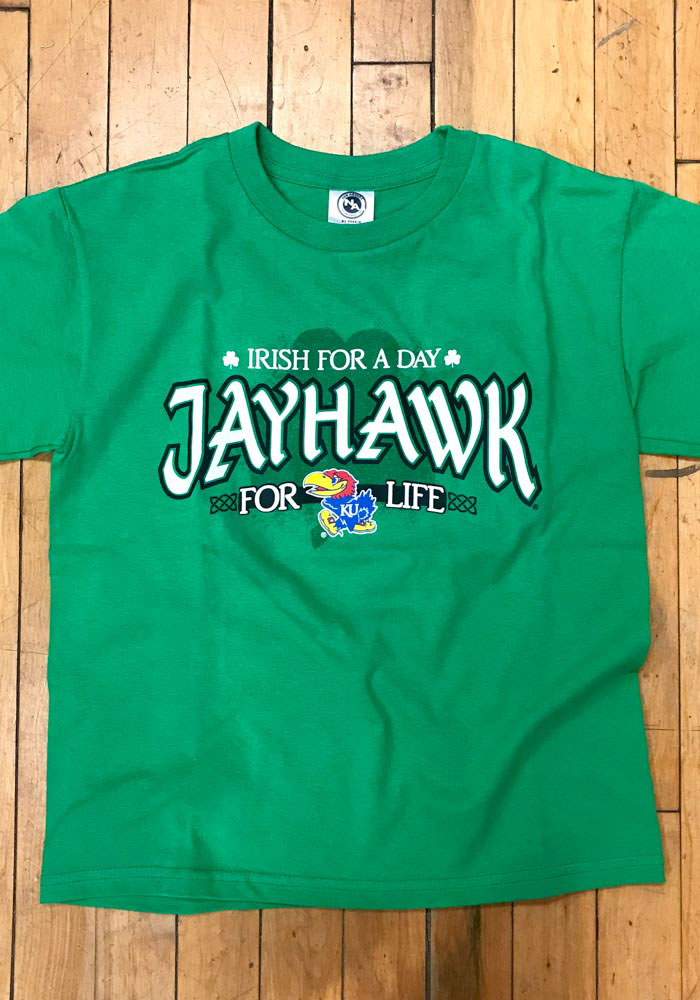 Kansas Jayhawks Youth Green Irish For A Day Short Sleeve T-Shirt - Image 2