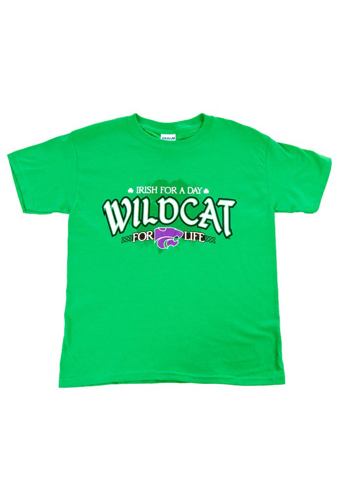 K-State Wildcats Youth Green Irish For A Day Short Sleeve T-Shirt - Image 1