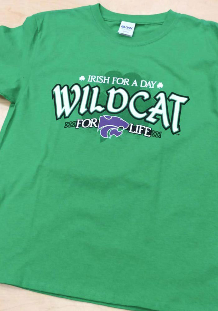 K-State Wildcats Youth Green Irish For A Day Short Sleeve T-Shirt - Image 2
