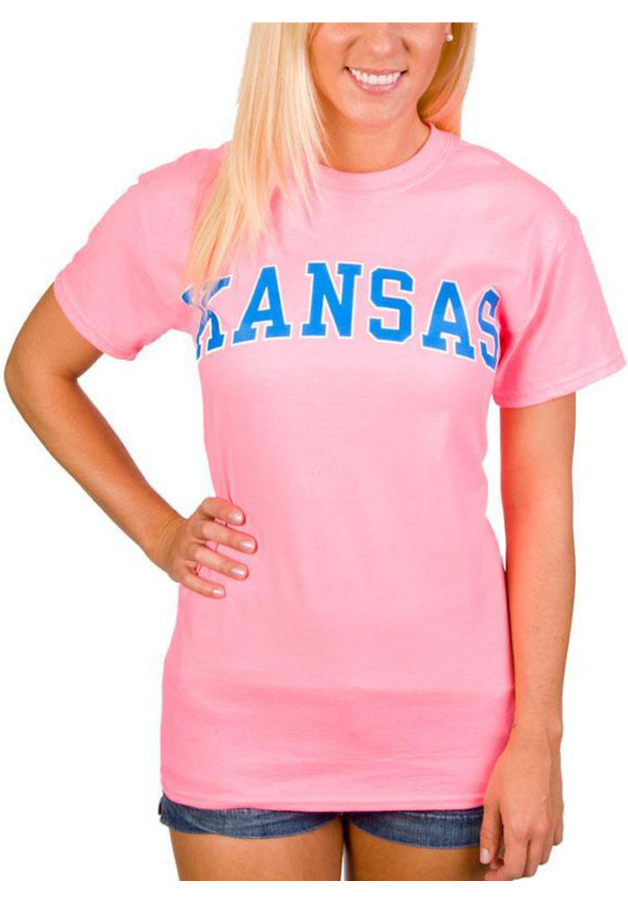 Kansas Pink Arched Wordmark Short Sleeve T Shirt - Image 1