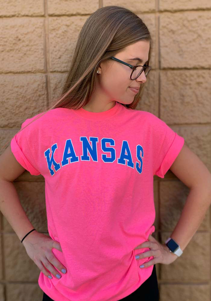 Kansas Pink Arched Wordmark Short Sleeve T Shirt - Image 3