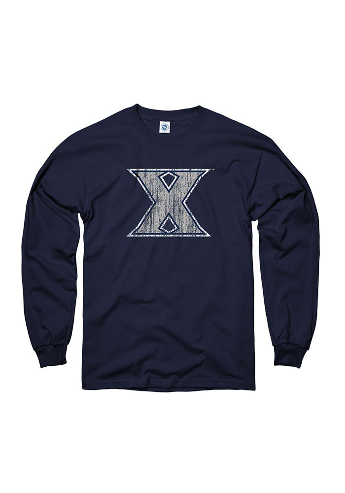 Xavier Musketeers Navy Blue Arch Mascot Long Sleeve T Shirt - Image 1