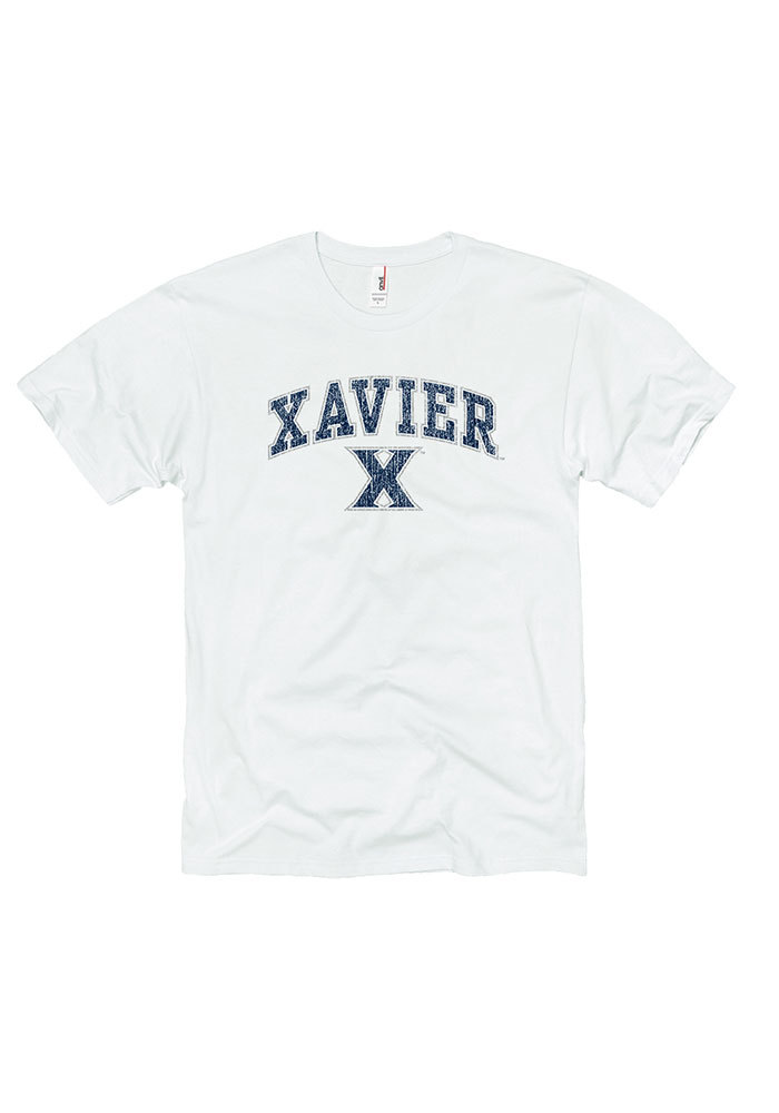 Xavier Musketeers White Midsize Distressed Tee