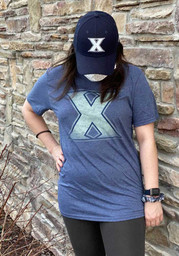 Xavier Musketeers Navy Blue Fade Out Short Sleeve T Shirt