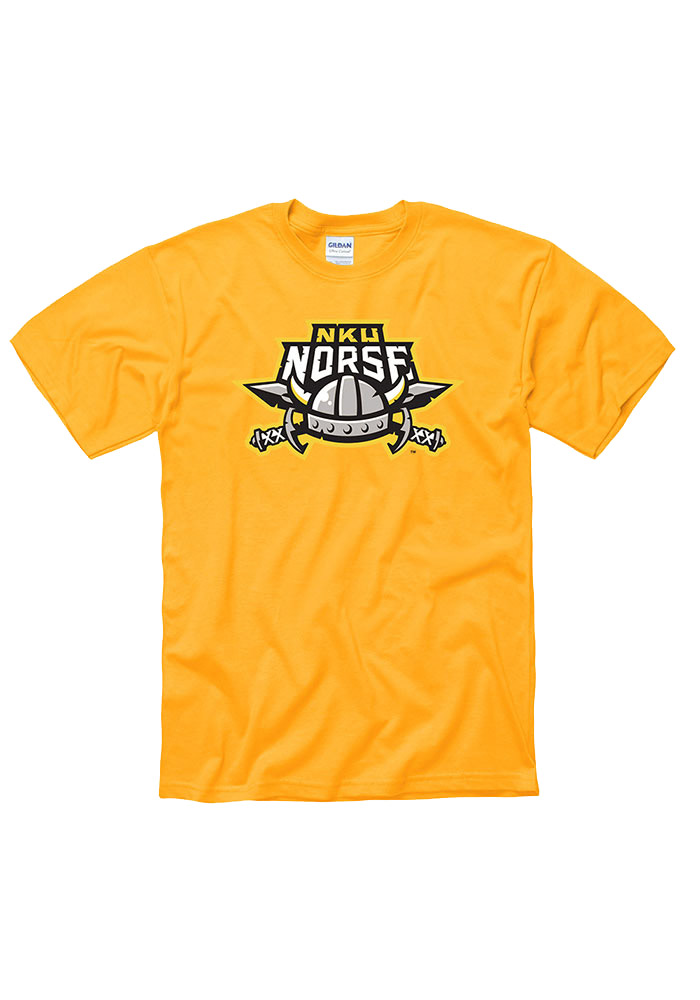 Northern Kentucky Norse Mens Gold Big Logo Short Sleeve T Shirt - Image 1