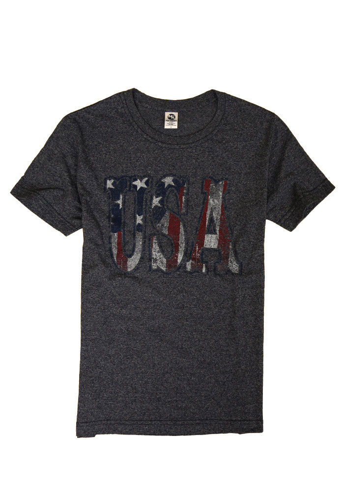 Team USA Mens Navy Blue Flag USA Short Sleeve T Shirt - Image 1
