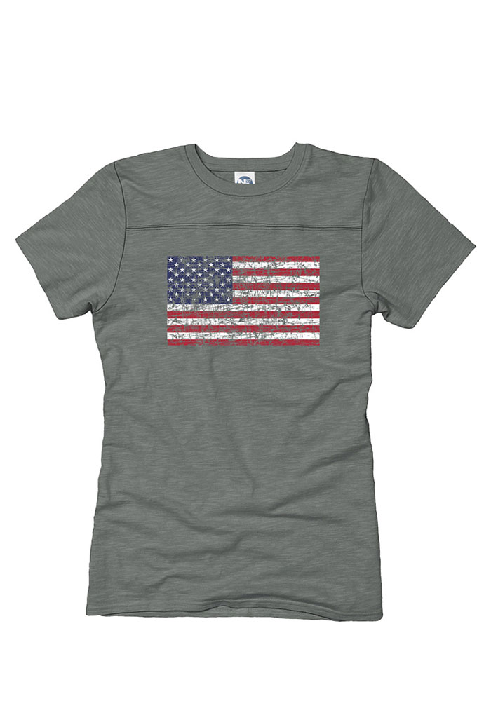 Team USA Juniors Grey Distressed Flag Short Sleeve Crew T-Shirt - Image 1