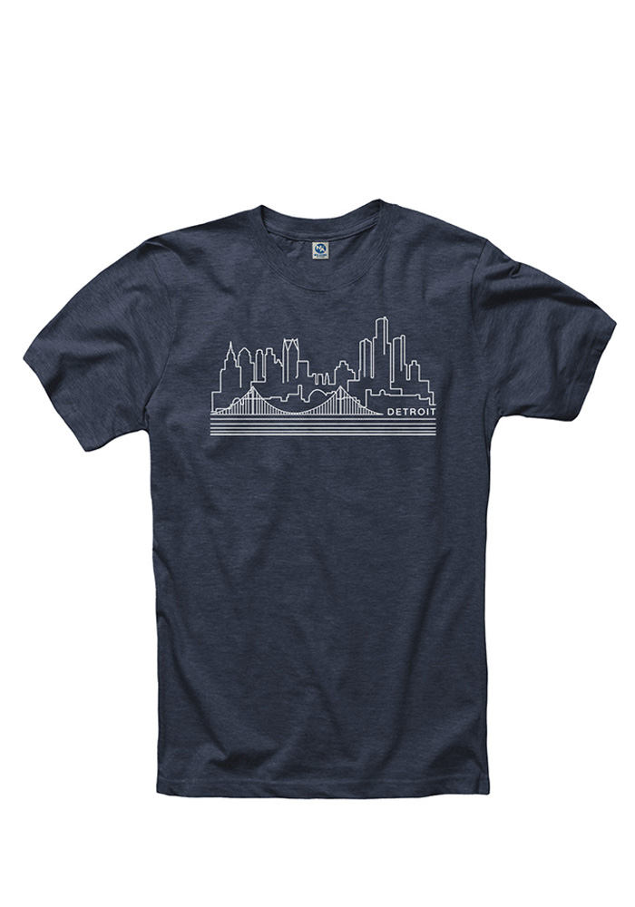 Detroit Navy Blue Skyline Short Sleeve T Shirt - Image 1