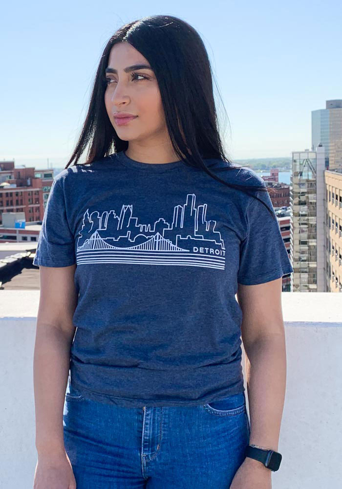 Detroit Navy Blue Skyline Short Sleeve T Shirt - Image 2