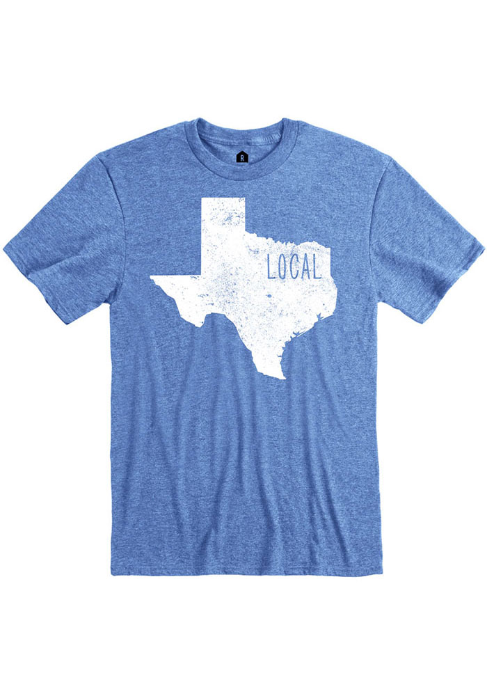 Texas Blue State Shape Local Short Sleeve T Shirt - Image 1