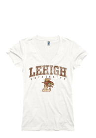Lehigh University Juniors White Ageless V-Neck
