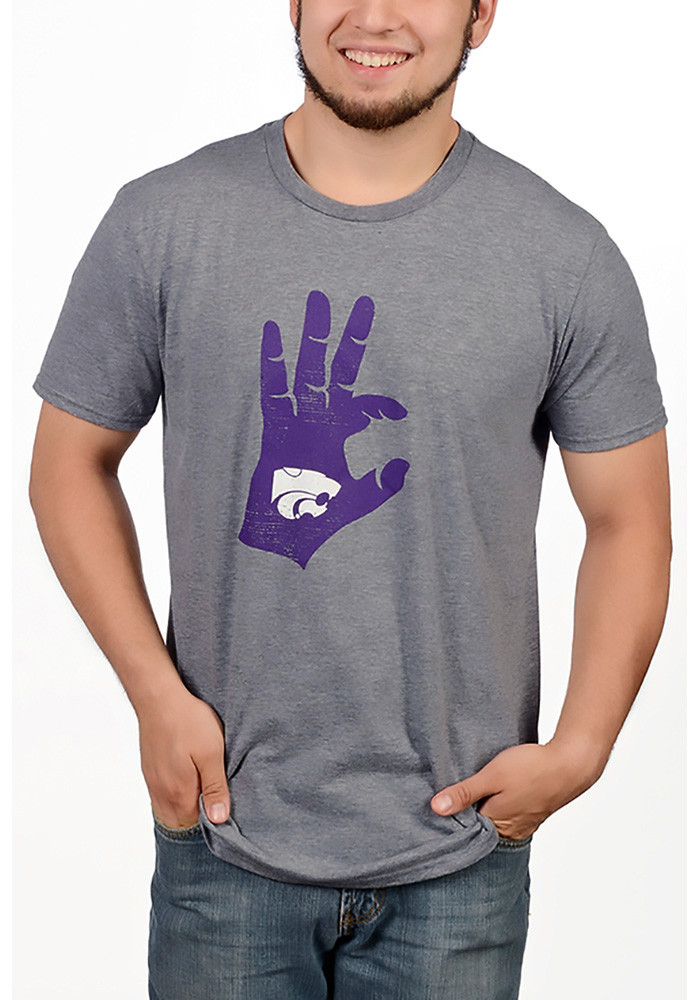 K-State Wildcats Mens Grey Hand Sign Short Sleeve T Shirt - Image 1