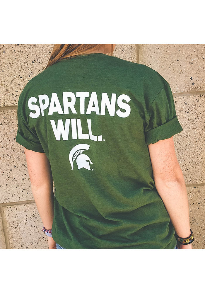 Michigan State Spartans Green Who Will Short Sleeve T Shirt - Image 3