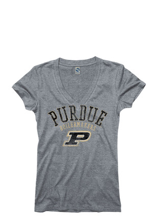 Purdue Boilermakers Womens Grey Ageless V-Neck