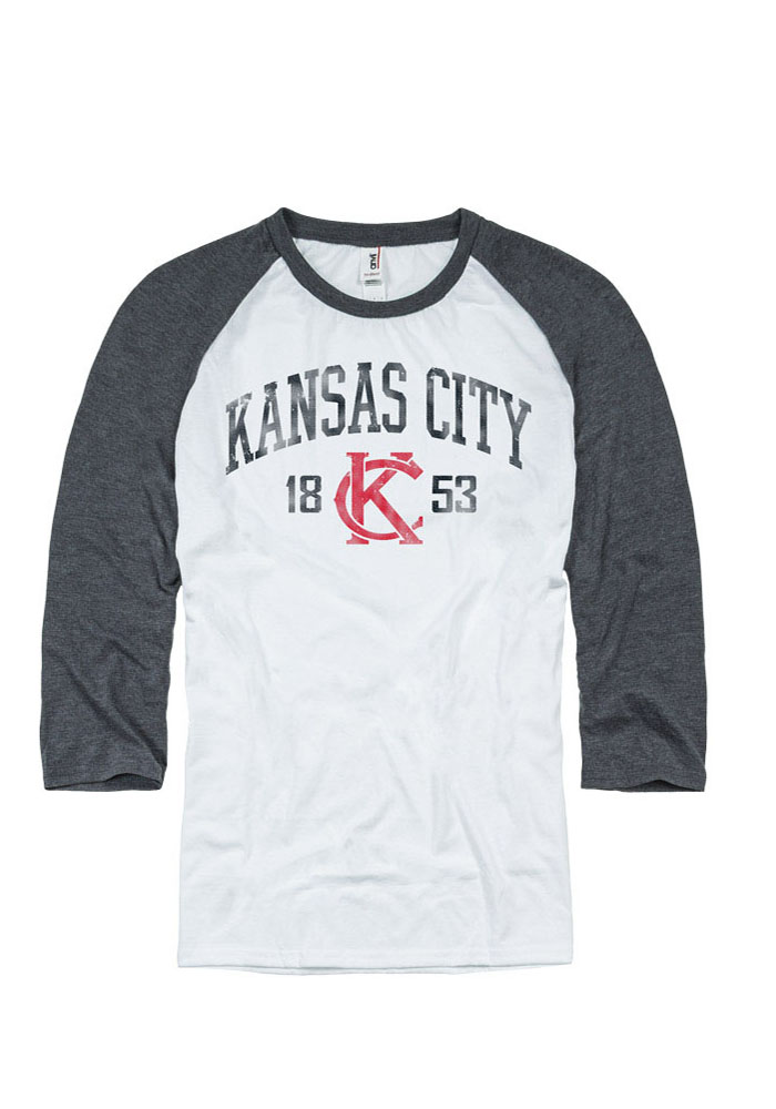 Local Kansas City Gifts Mens White Arch Establish Date Logo Tee Long Sleeve Tee - Image 1