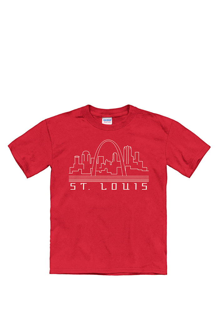 St Louis Youth Red Skyline Glow Short Sleeve T Shirt - Image 1