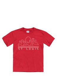 St Louis Youth Red Skyline Glow Short Sleeve T Shirt