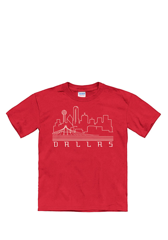 Dallas Ft Worth Youth Red Skyline Glow Short Sleeve Fashion T Shirt - Image 1