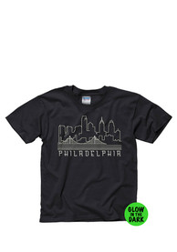 Philadelphia Youth Black Skyline Glow Short Sleeve T Shirt