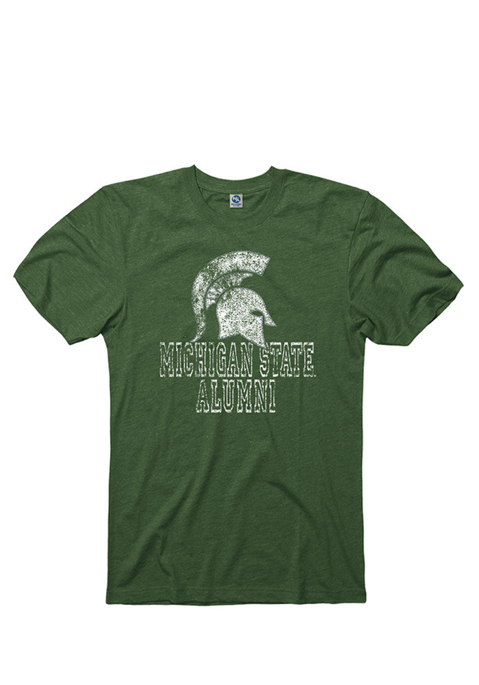 Michigan State Spartans Mens Green Hollow Short Sleeve T Shirt - Image 1