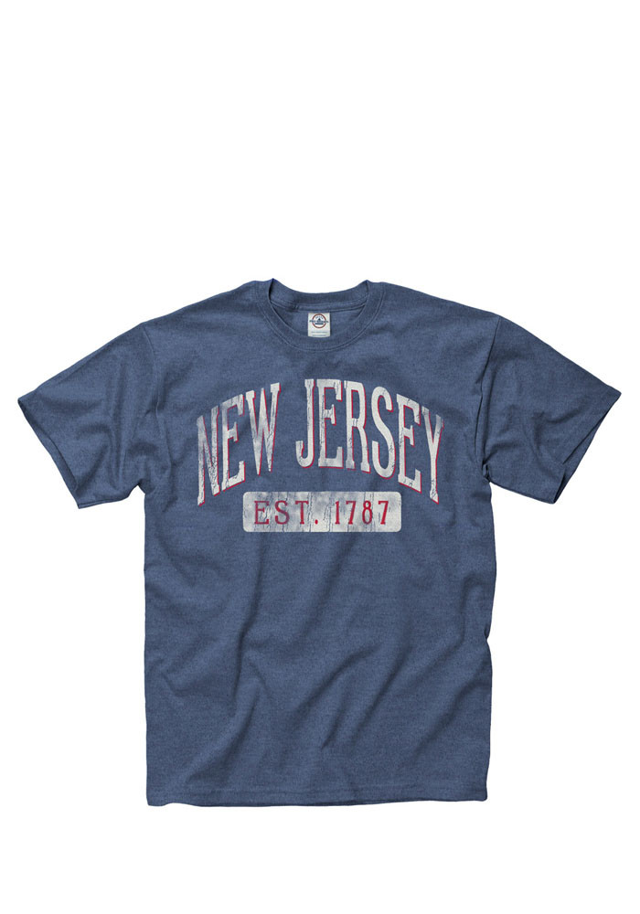 New Jersey Mens Navy Blue Establish Date Arch Short Sleeve T Shirt - Image 1
